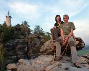 Mit Almuth und Wiese bei einer unser ersten gemeinsamen Klettertouren auf dem Gipfel des Papststeins