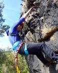 Das war 2015 - Almuth ohne Skrupel - im Nonnenfelsen Klettersteig im Zittauer Gebirge, Oktober