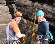 Der erste Klettertag 2018 im sonnigen März, hier auf der Narrenkappe am Gohrisch