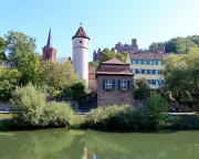 Stiftskirche, Krittsteinturm, Krittsteintor und Burg Wertheim