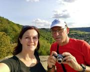 Selfi auf dem Bergfried der Burgruine Wertheim