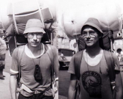 Damals war's - Ja, so sahen wir mal aus! Entstanden sind diese Portraits bei unserer Tour 1981. Statt der heute üblichen Isomatten hatten wir, wie man gut erkennen kann, riesige Schaumgummirollen durch die Landschaft getragen.