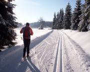 Gut geloipt unterwegs im polnischen Isergebirge, kurz vor Orle
