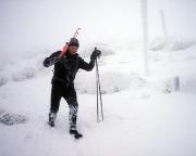 Die Rücktour beginnt, bei Schnee, Eis und Sturm auf dem Hauptkamm des Riesengebirges