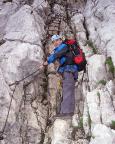 Alpspitz-Ferrata - im nicht zu verfehlenden und unübersehbaren Einstieg des Klettersteiges