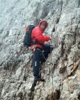 Sextener Rotwand - Thomas in der steilen Wand des Giopfelbereiches