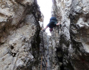 Toblinger Knoten - teilweise wechselt man von Wand zu Wand