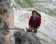 Toblinger Knoten - auf den ersten Metern des Dolomitenfreunde-Klettersteiges.