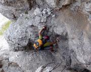 Toblinger Knoten - Es geht los - hier und auf dem folgenden Bild Eindrücke vom Einstieg in den Dolomitenfreunde-Klettersteig