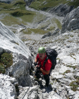 Watzmann-Überschreitung - Abstieg, mitunter trifft man auf drahtseilversicherte Passagen
