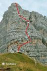 Routenverlauf der Via delle Guiede, Torre Grande, Cinque Torri