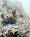 Geoße Zinne - Normalweg -  Ankunft auf dem Ringband im Nebel.