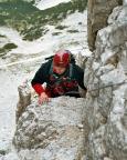 Geoße Zinne - Thomas Herrmann steigft in die zweite Scharte aus.