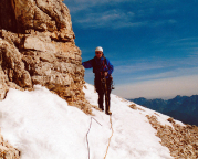 Geoße Zinne - Normalweg - Volker Oktober 2003 auf dem Ringband