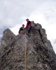 Il Gobbo Nordwand - Steffen und Thomas auf dem sehr sehr kleinen Gipfelkopf