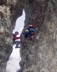 Il Gobbo Nordwand - die Schlüsselstelle der Tour, der Kaminausstieg