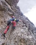Il Gobbo Nordwand - Steffen in der Schlusswand zum Grat