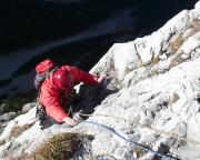 Thomas Herrmann an der steilen Wand am Ende der dritten Seillänge - von mir vom oberen Standplatz aufgenommen
