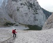 Unangenehm, aber objektiv ungefährlich - der Abstieg zur Dammkarhütte