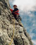 Torre Barancio - Dibona - Thomas verlässt den zweiten Standplatz und muss 50 m steigen