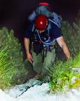 2004 - Zustieg über Schrofen und durch Latschen - noch in der morgendlichen Dämmerung