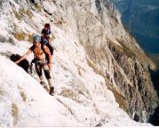 2001 - teilweise sehr ausgesetzte Querung an der Platte vor der Wasserfallwand