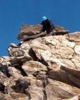 Weißkugel - Hoch geht es oft leichter, als runter. Hier auch - im Abstieg sichern wir den felsigen Gipfelgrat teilweise.