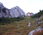 Blick auf die Tegernseer Hütte vom bequemen Zu- und Abstieg