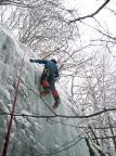 Bielatal, hintere steile Eisfälle, Aldo Bergmann am Ausstieg