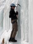 Bielatal, Carmen Simmanck am vorderen großen Eisfall