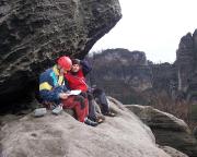 Wir waren ein richtig großartiges Team – hier Elke und Steffen beim Gipfelbucheintrag