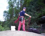 Der Gipfel ist durch Abseilen und Erklettern erreicht – jetzt geht's zur Talabseile