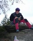 Auf dem Backfisch im Bielatal, kaltes Wetter stört beim Klettern nicht