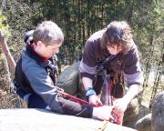 Am Abseilstand des Gipfels Götze in den Schrammsteinen