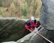 Volker im Ausstieg des Unteren Reitgrats  des Schusterweges am Falkenstein