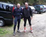 Vor dem Start unser Joggingrunde auf dem Parkplatz an der Neumannmühle