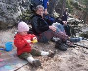 Beim Klettern am Lorenzstein findet sich Solobergsteiger Wiese plötzlich im Sandkasten wieder ;-)
