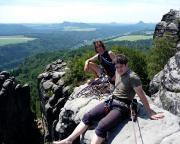 Auf dem Gipfel der Schrammsteinscheibe