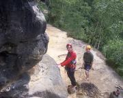 Bereit zum Klettern an den Lolatürmen bei Schmilka