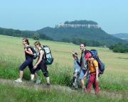 Beginn unseres Klettertages - auf dem Weg zum Pfaffenstein