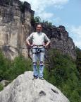 Fechi auf dem Gipfel der Klamotte am Pfaffenstein