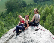 Unsere Damen auf der Klamotte am Pfaffenstein