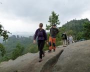 Regen kann uns nicht abschrecken - bei der Wanderung auf der Schrammsteinkette