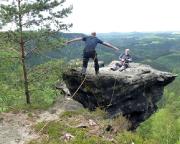 Björn beim Sprung auf den Rübezahlturm - ein herrlicher Flug, oder?