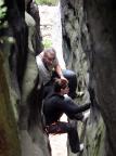 Downhill durch den Kamin des Alten Weges vom Kleinen Lorenzstein