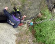 Tour 02/2105 - Eine besondere Herausforderung - statt Abseilens abklettern über die Aufstiegsroute.
