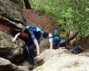 Tour 02/2105 - Steil, anstrengend, schön - der Aufstieg von der Theaterkasse zu den Felsen der Kleinen Gans.