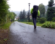 Ankunft im Kurort Oybin bei strömendem Sommerregen