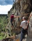 Kleinsteinwand – Katrin steigt in den Neuen Weg (III) ein