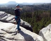 Fachsimpelei auf dem Gipfel Waltersdorfer Horn vor großartiger Kulisse